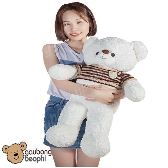 Gấu bông teddy áo len màu trắng khổ vải 80cm ( đứng thưc tế 60cm)