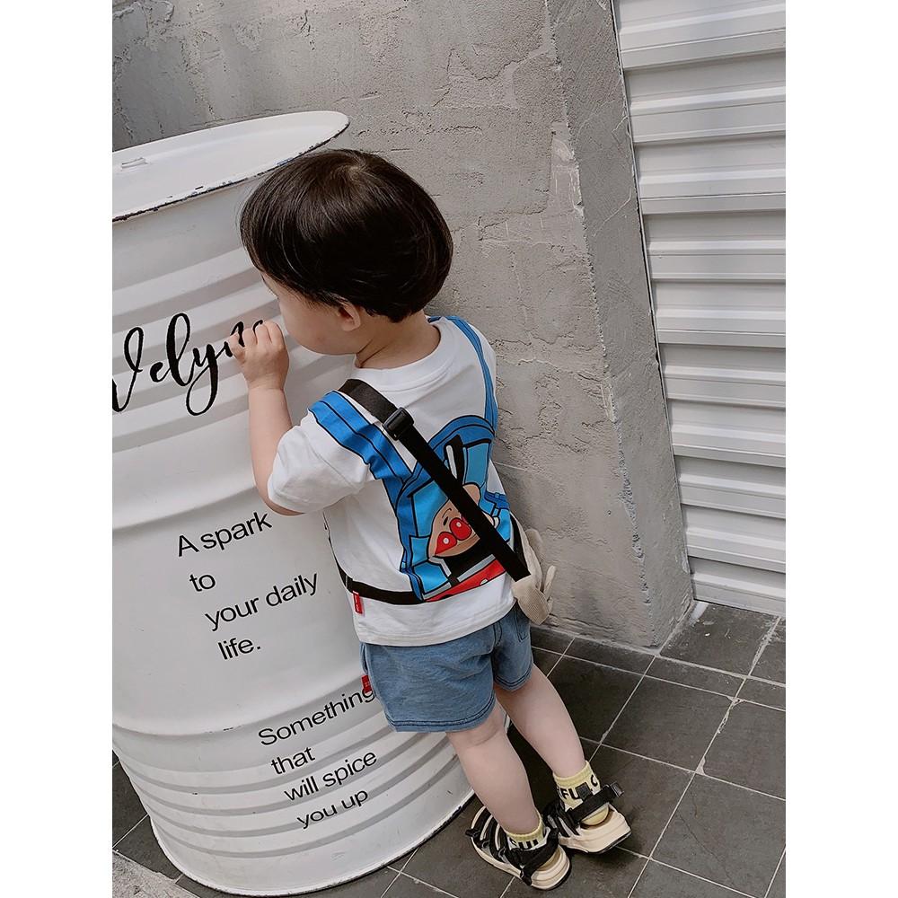 Quần áo trẻ em Meng Meng mùa hè cho bé trai áo thun ngắn tay trẻ em dễ thươ