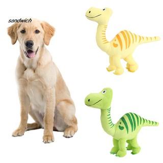SDWC Funny Pet Dog Dinosaur Shape Bite-resistant Plush BB Sound Squeak Chewing Toy