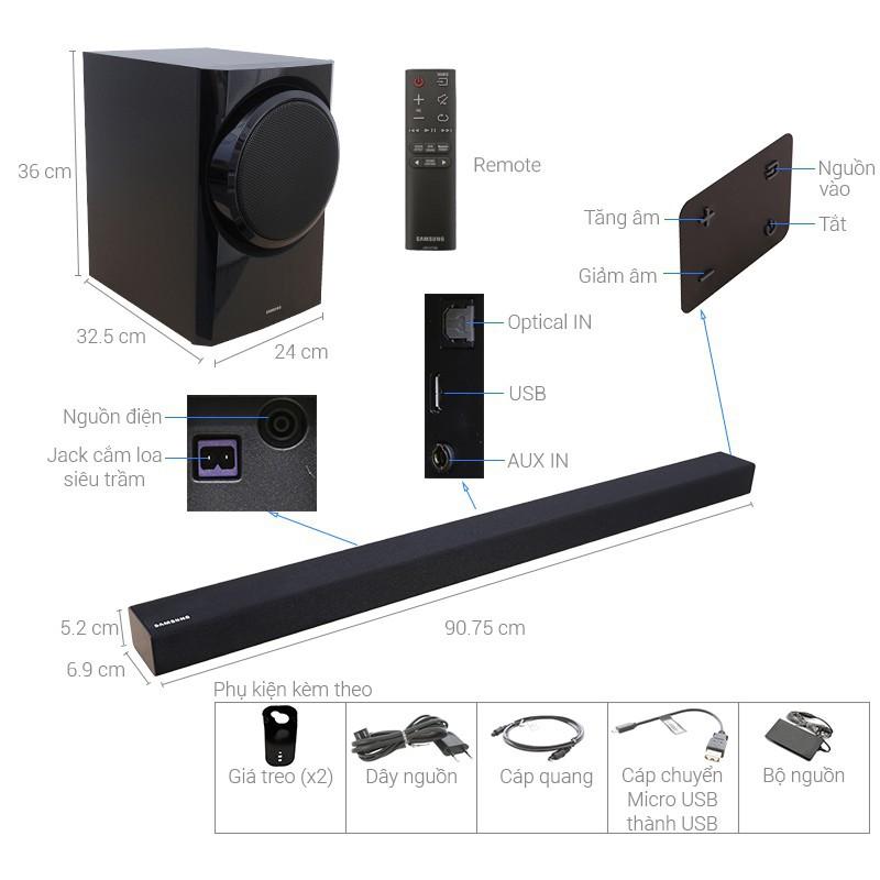 Loa thanh soundbar Samsung 2.1 HW-K350 150W [ Cam kết hàng chính hãng ]