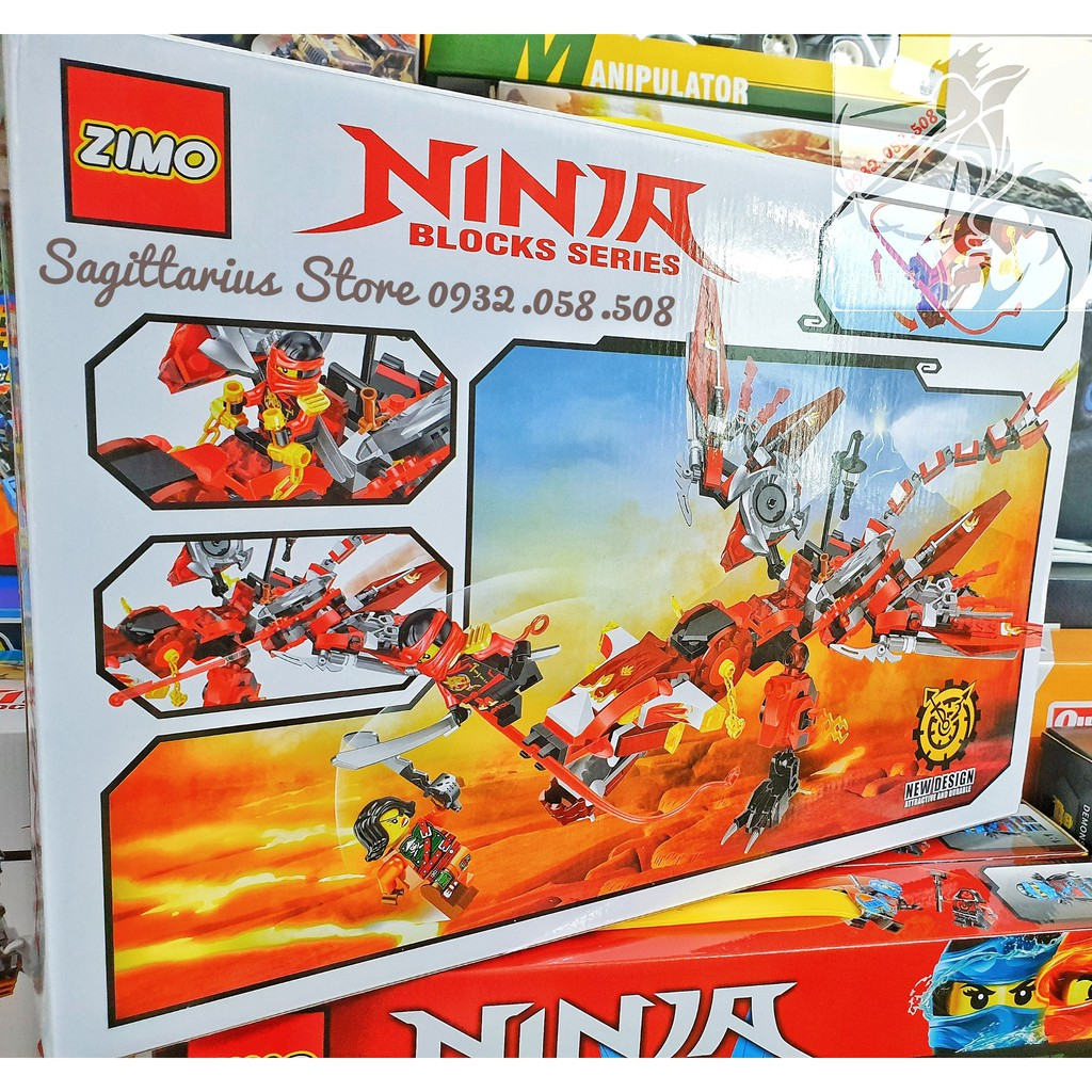 LEGO ZIMO lắp ráp ROBOT RỒNG NINJA ( Đỏ )