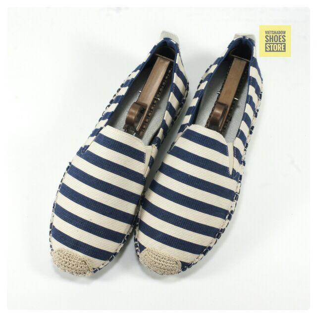 Slip on | giày lười vải nam mũi cói - Mã SP: 6601-xanh