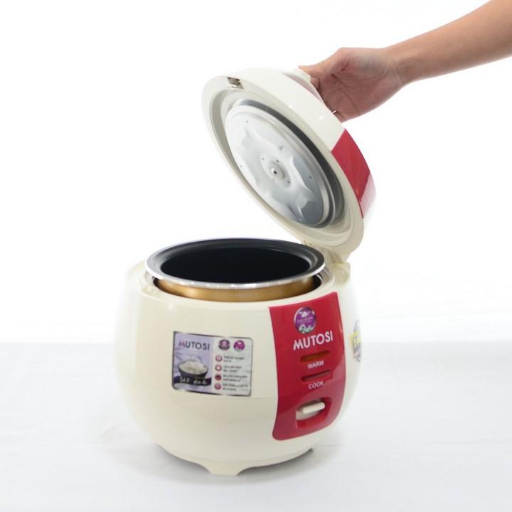 [Mã ELTECHZONE giảm 5% đơn 500K] Nồi cơm điện Mutosi MR-12 (Đỏ) lòng niêu chống dính 1.2L