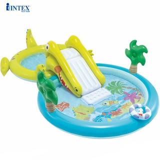 Bể bơi phao cầu trượt cá sấu có vòi phun mưa đáng yêu INTEX 57164