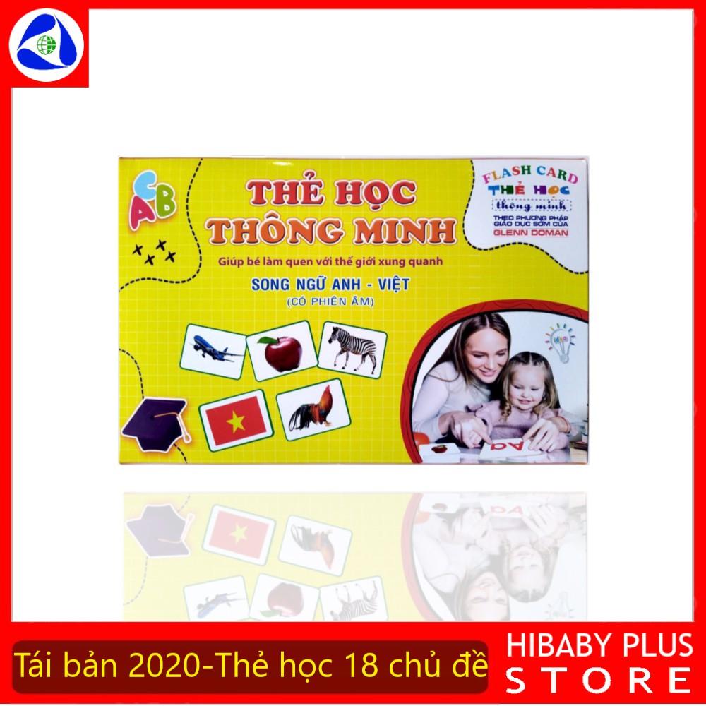 Bộ Thẻ Học Thông Minh cho bé 18 Chủ Đề thẻ học Glenn Doman loại to song ngữ Flashcard tiếng Anh (Hibaby+)