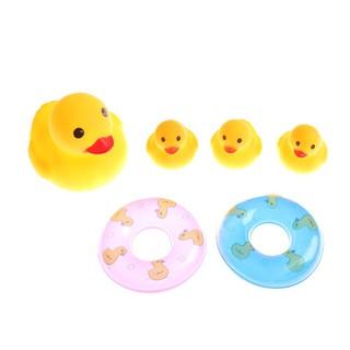 Bộ 4 vịt cao su kèm 2 phao bơi ,đồ chơi đi bơi, đi tắm cho bé_hàng độc quyền