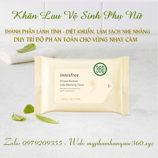 [mẫu mới] Khăn Lau Vệ Sinh Phụ Nữ Từ Hoa Cúc (gói 10 tờ) Innisfree Chrysanthemum Lady Tissue 1
