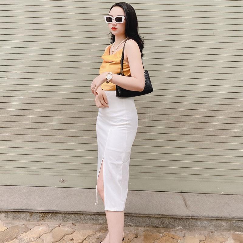 [Mã WAMT10K giảm 10K đơn 0K] Chân váy dài Ulzzang xẻ tà, chân váy công sở chữ a dáng dài Hàn Quốc 2021 - GENX13