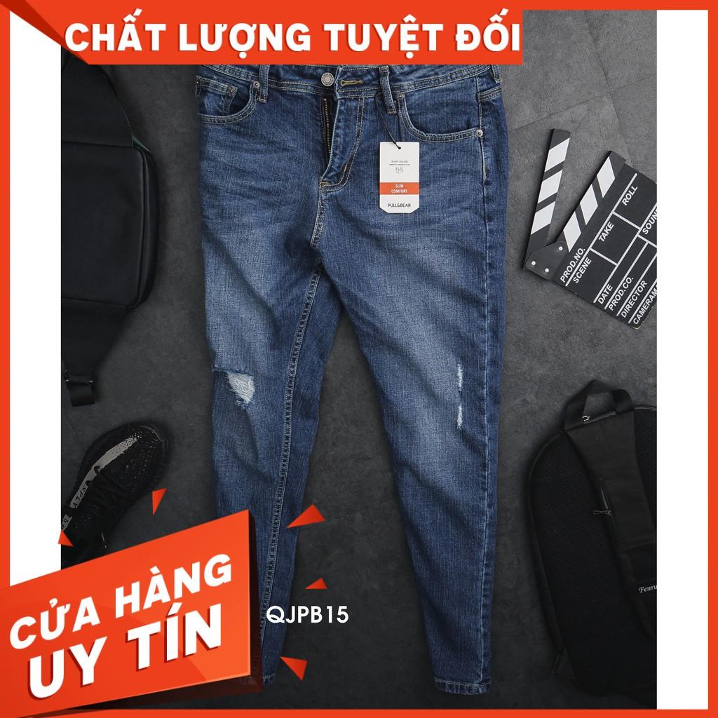 HÀNG CHẤT GIÁ CHUẨN - QJPB15 - Quần Jean Nam P&B Xanh Wash Rách Gối dáng SlimFit - chiếc quần jean co giãn