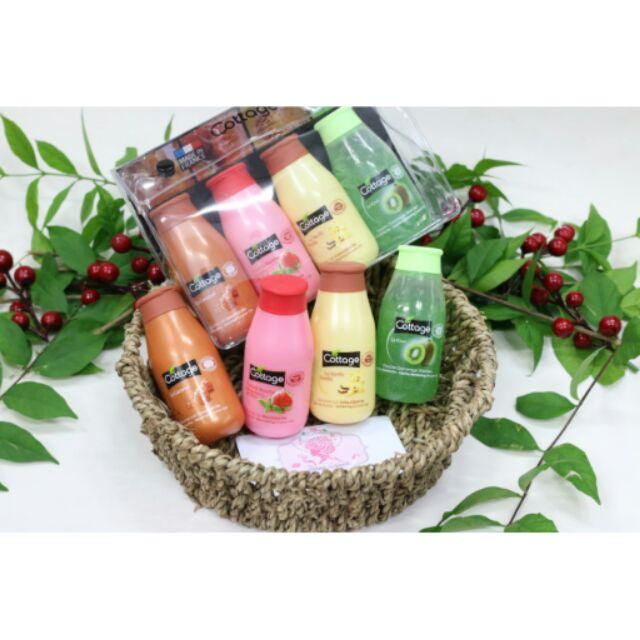 Set sữa tắm Cottage mini 4 mùi (Caramel, Dâu, Vanila, Kiwi)