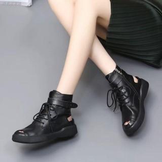 Giày bốt da mềm đế bằng hở ngón xinh xắn thời trang 2020