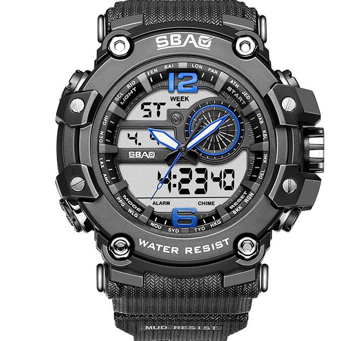 Đồng hồ thể thao nam SBAO B8042 - chạy máy kim và máy điện tử phong cách thể thao cực ngầu Dây đeo bằng Silicone