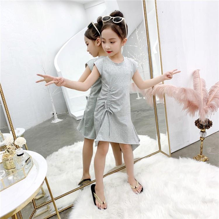 Drawstring beveled skirt Korean dress girls solid color long skirt round neck personality children's clothing