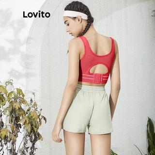 Hình ảnh Áo ngực thể thao/ tập yoga Lovito màu trơn L02034 (Black/Nude)-7
