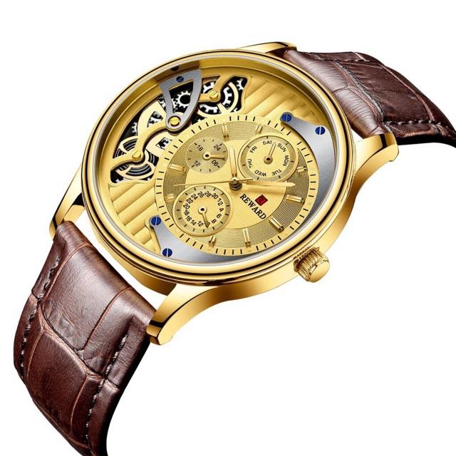Đồng hồ nam dây da mặt kính chống xước Reward