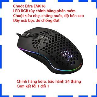 Chuột Gaming E-DRA EM616 Led RGB ( Chuột Gaming Siêu Nhẹ, LED RGB, Chuột Lỗ ) - Bảo hành 2 năm - Cam kết chính hãng thumbnail