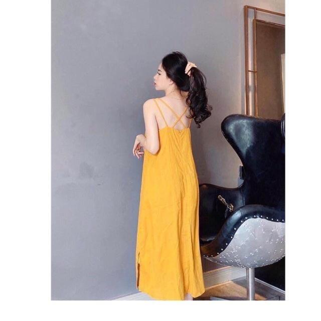 váy đũi 2 dây đi biến- chất đũi xước xinh xắn- 3 màu vàng, đen, tím
