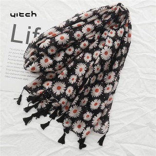 Yitch Cotton Linen Women Long Scarf Daisy Print Tas