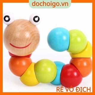 Đồ chơi con sâu gỗ uốn dẻo cho bé, đồ chơi gỗ phát triển trí tuệ dochoigo.vn thumbnail