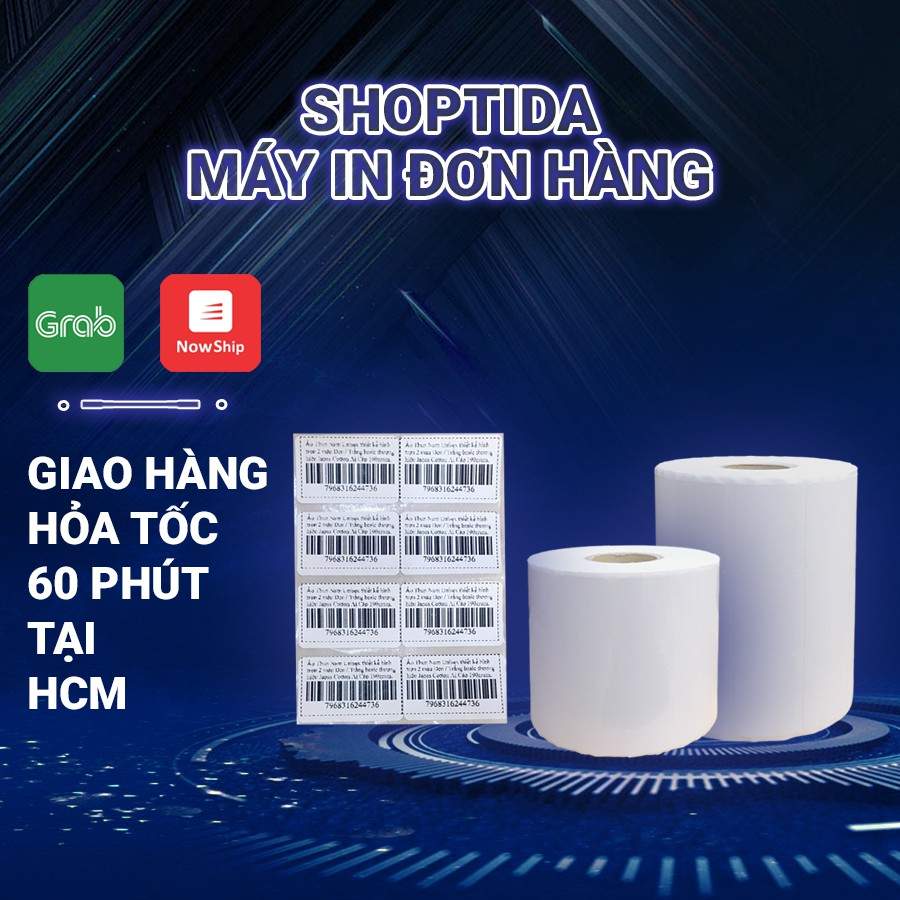 Tem in nhiệt Shoptida 35*22mm in minicode, barcode, 2 tem 1 hàng, sử dụng cho máy in nhiệt Shoptida SP4