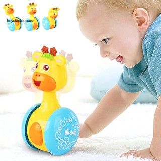BOYS Baby Cute Cartoon Deer Rattles Tumbler Doll Toy Bell Music Learning Education
