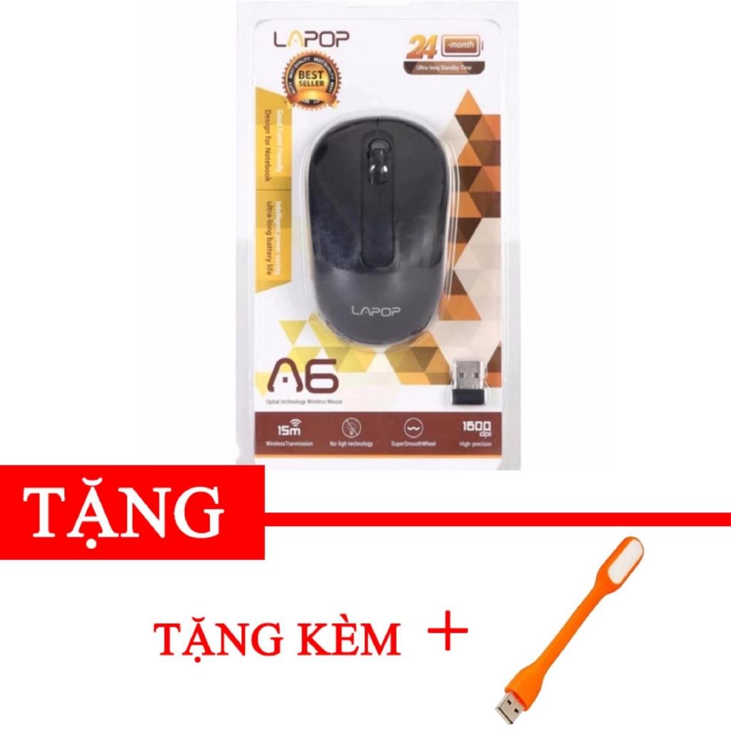 Chuột không dây laptop Lapop a6 Tặng kèm đèn led USB -gift2 DC1225