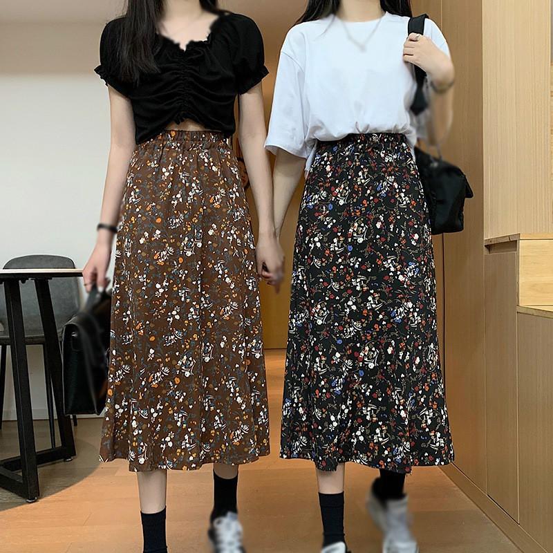 Chân Váy Hoa Lưng Cao Thời Trang Xuân Hè Dành Cho Nữ