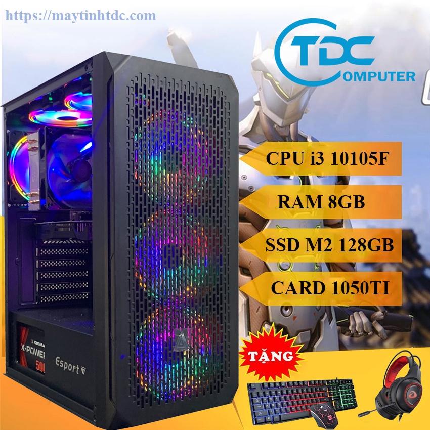 Case máy tính chơi game,thiết kế đồ họa Max PC CPU core i3 10105F, Ram 8GB,SSD M2 128GB, Card 1050TI+Qùa Tặng
