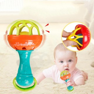 ❃❣☆Elastic Bite Teether Rattle Bell Stick Educational Games Toy for Baby Kids