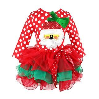 Đầm xòe tay dài phong cách Giáng sinh dễ thương cho bé gái
