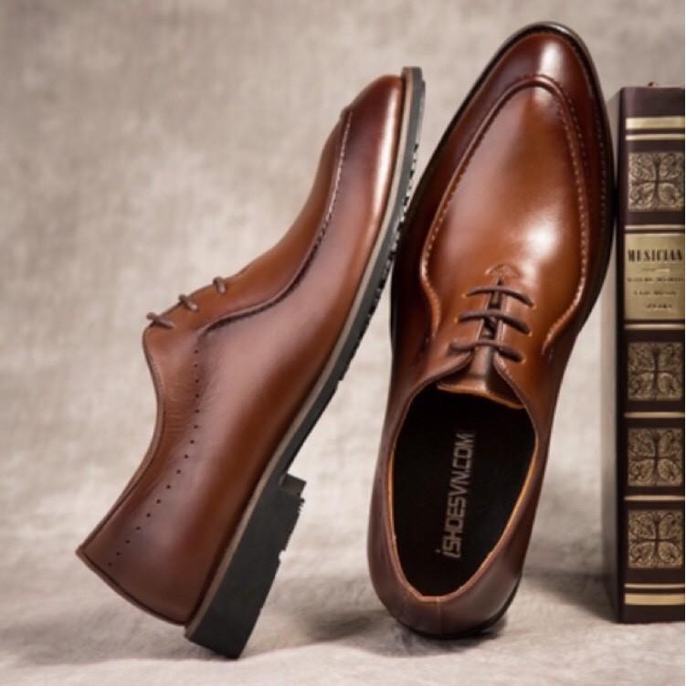 Giày Tây Nam Thời Trang Công Sở Sang Trọng Lịch Lãm Da Bò Nguyên Tấm Dây Buộc Bảo Hành 12 Tháng