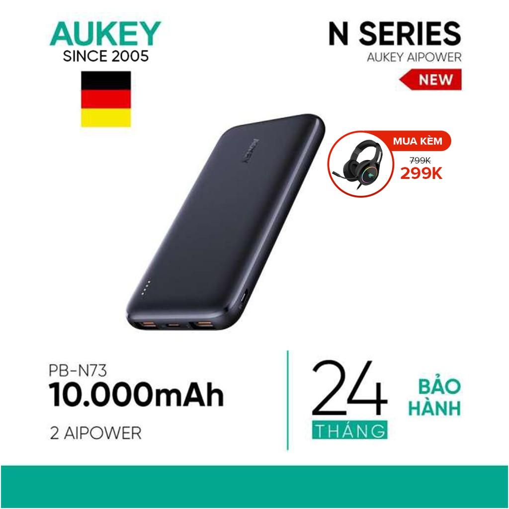 Pin Siêu Mỏng 10.000 mAh Aukey PB-N73 1 Cổng Sạc Nhanh Type C 15W, 2 Cổng USB-A