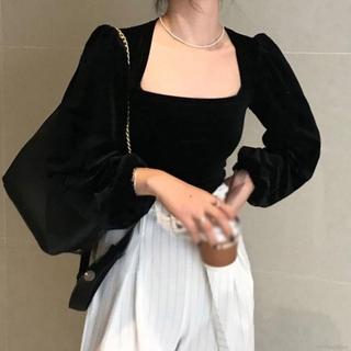 French Style Women Black Retro Square Collar Temperament Puff Sleeve Velvet Tops