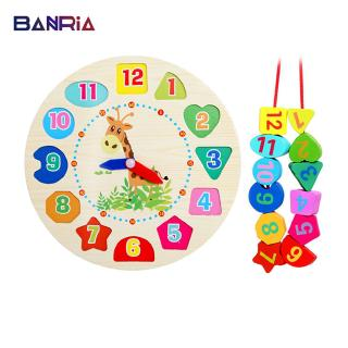 12 Numbers Wooden Clock Colorful Watch Puzzles Toys Giraffe Digital Geometry Cognitive Matching Educational Bricks AA