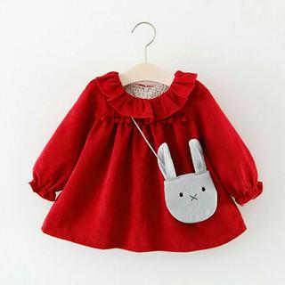 Váy cho bé gái - Váy nhung tăm kèm túi V40