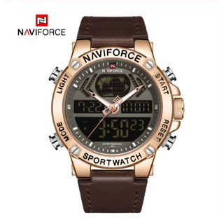 NAVIFORCE NF9164 Men Sport Fashion Leather Band Analog Digital Watch thumbnail