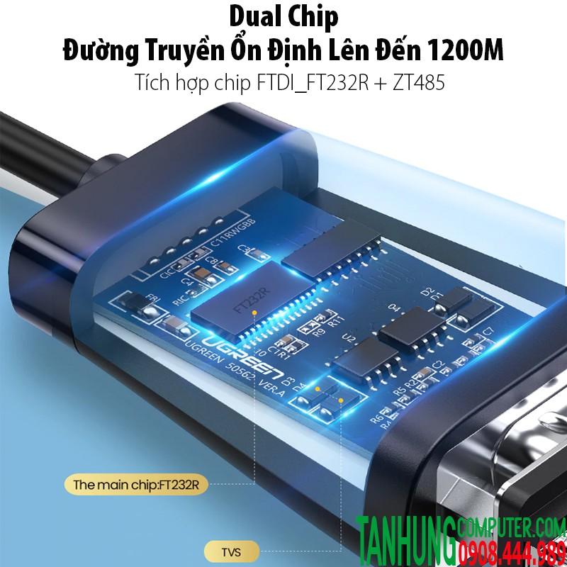Cáp USB to Com RS422/485 cao cấp Ugreen 60562 Chipset FTDI dài 1,5M màu đen