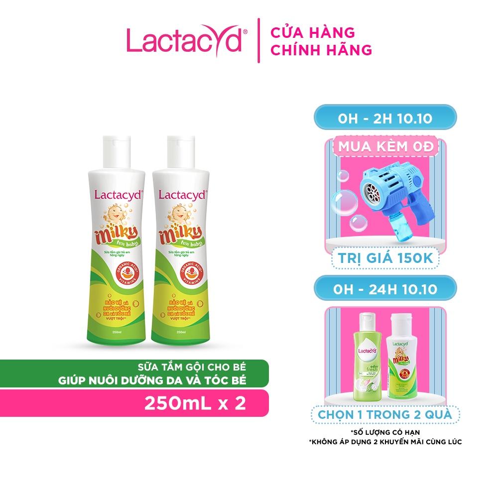 Bộ 2 chai Sữa Tắm Gội Trẻ Em Lactacyd Milky Bảo Vệ, Nuôi Dưỡng Da và Tóc Bé 250ml/chai