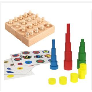 Set 4 block núm trụ mini + trụ màu không núm + thẻ ghép