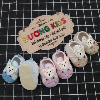 [Đế kép]Giày tập đi cho bé trai và bé gái đế kép cao su mềm hình Gấu tai dài DK0200GTD thumbnail