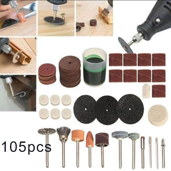 Bộ phụ kiện máy khoan điện mini 105 chiếc đa năng dùng quay, mài, đánh bóng gỗ, chất liệu nhựa + kim loại bền bỉ