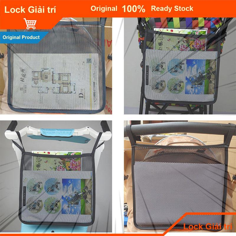❤Lock Lock Stroller Bag Net Pocket Organizer Storage Bag Universal String Bag Black