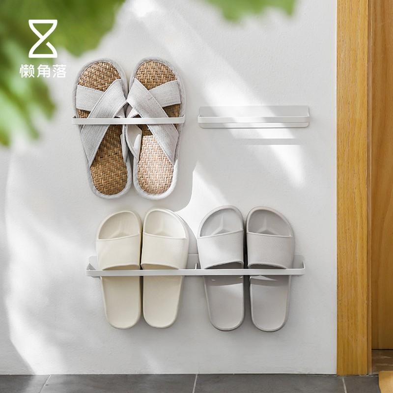 aLazy corners Bathroom slippers rack wall-mounted punch-free space saving drain rack rear door storage shoe rack 66330
