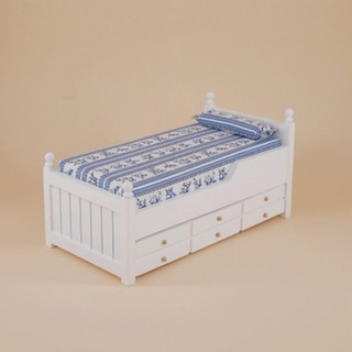 💗Sunei💗Miniature Drawer Bed Two Layers For 1:12 Dollhouse Bedroom Furniture Decor