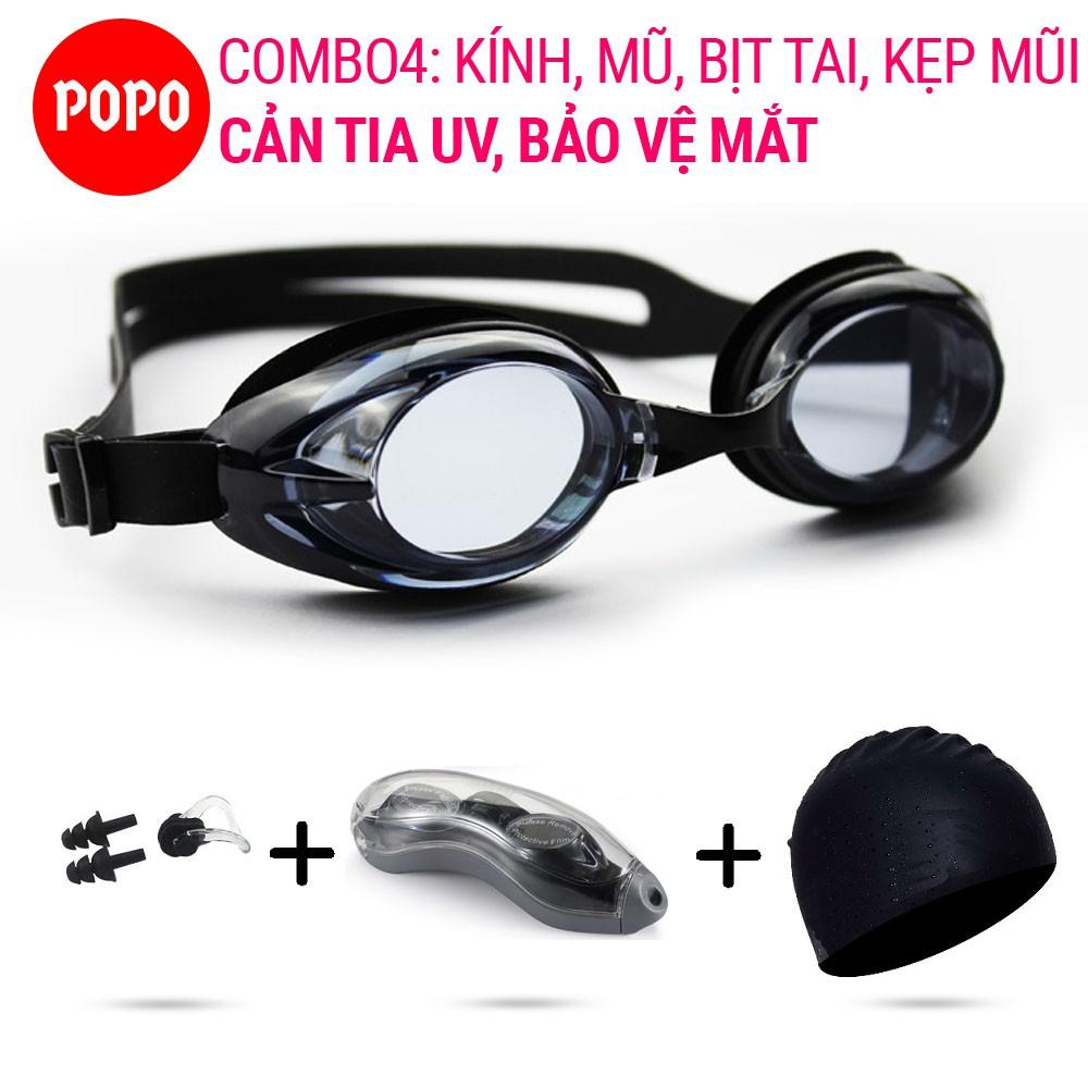 Combo kính bơi, mũ bơi trơn, bịt tai kẹp mũi với mắt kính trong chống tia UV chống sương mờ POPO - 1153