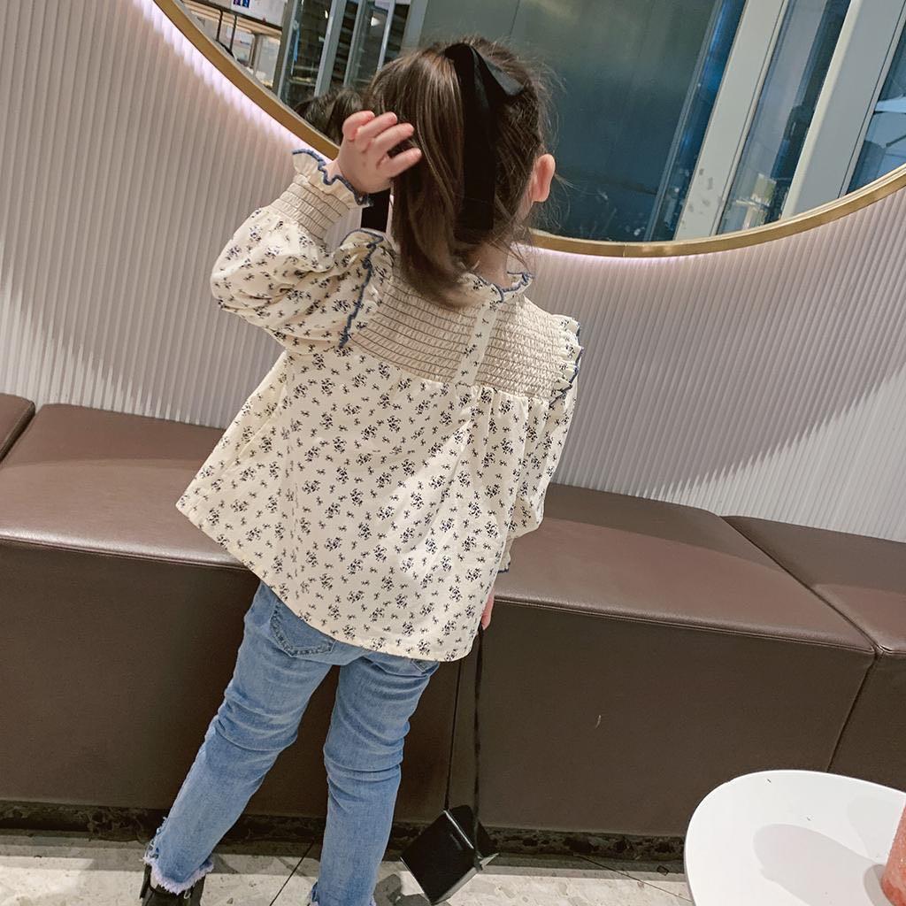 Áo sơ mi cotton tay dài cổ đứng phối ren in hoa đáng yêu cho bé gái
