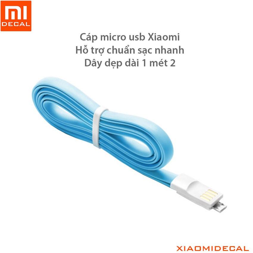 Cáp micro usb Xiaomi hỗ trợ sạc nhanh - dây dẹp 1 mét 2 màu xanh