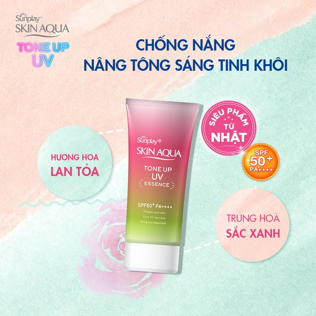 Tinh chất chống nắng nâng tông dành cho da khô/thường Sunplay Skin Aqua  Tone Up UV Essence Happiness Aura (Rose)50g | Shopee Việt Nam