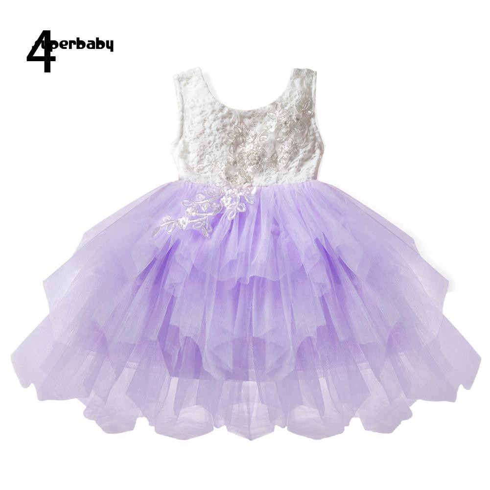 SBaby-Wedding Party Kids Flower Girl Layered Tulle Open Back Sleeveless A-line Dress