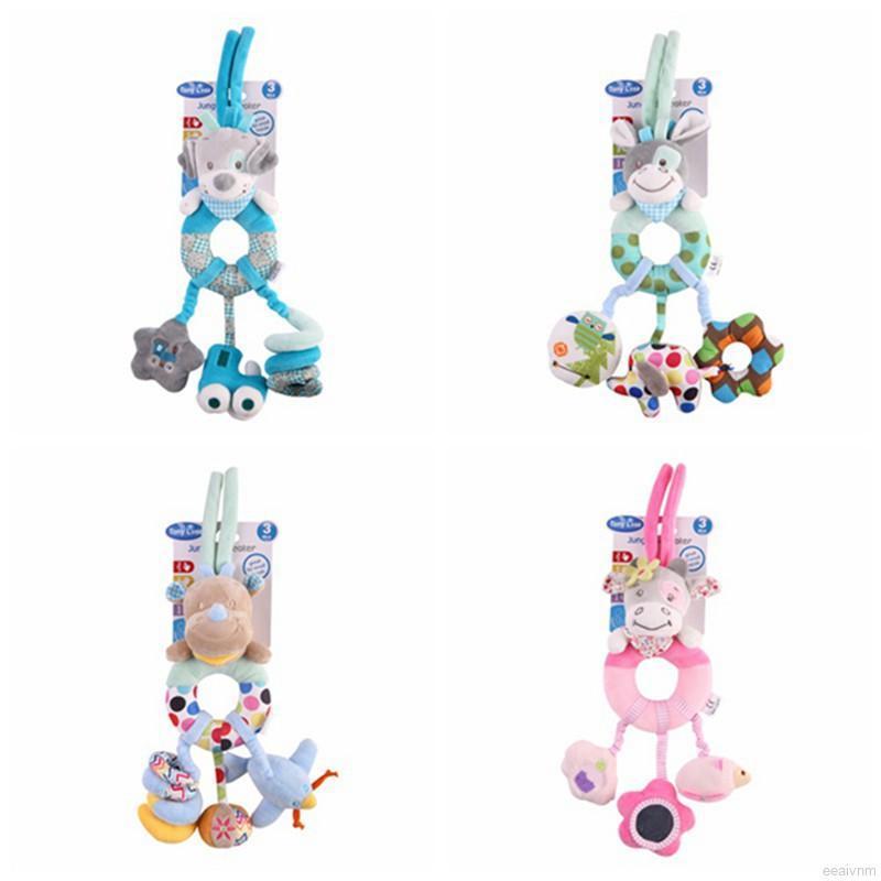 Baby Lathe Hanging Ring Animal Print Rattle Crib Hanging Infant Stroller Hanging Toys Teether Stuffed Doll